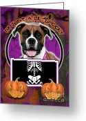 Boxer Greeting Cards - Im Just a Lil Spooky Boxer Greeting Card by Renae Frankz