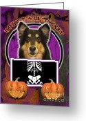 Holiday Greeting Cards - Im Just a Lil Spooky Collie Greeting Card by Renae Frankz