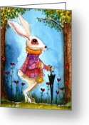 Alice In Wonderland Painting Greeting Cards - Im late Greeting Card by Lucia Stewart