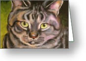 Pet Portrait Drawings Greeting Cards - Im Your Man Tabby Greeting Card by Susan A Becker