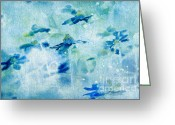 "\""blue Flowers\\\"" Greeting Cards - Imagine - m11v09 Greeting Card by Variance Collections"