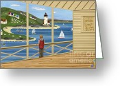 Seaside Mixed Media Greeting Cards - Imagine Greeting Card by Anne Klar