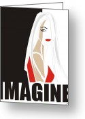 Red Dress Greeting Cards - Imagine Greeting Card by Johanna Virtanen