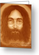 Image John Lennon Greeting Cards - Imagine Greeting Card by Reb Benno