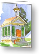 Pilot Knob Greeting Cards - Immanuel Lutheran Church in May Sunshine Greeting Card by Kip DeVore