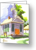 Pilot Knob Greeting Cards - Immanuel Lutheran Church in Springtime Greeting Card by Kip DeVore