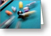 Pool Break Greeting Cards - Impact Greeting Card by Mike Cavanaugh