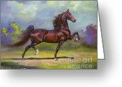 Horse Art Greeting Cards - Imperator Greeting Card by Jeanne Newton Schoborg