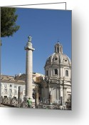 Major Greeting Cards - Imperial Fora with the Trajans Column and the Church Santissimo Nome Di Maria.  Rome Greeting Card by Bernard Jaubert