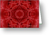 Wife Gift Greeting Cards - Imperial Red Rose Mandala Greeting Card by Zeana Romanovna