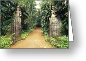 Garden Pathway Greeting Cards - Imposing Gates Lead To The Home Greeting Card by Jason Edwards
