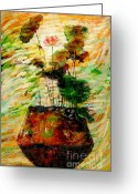 Lotus Bud Greeting Cards - Impression in lotus tree Greeting Card by Atiketta Sangasaeng