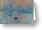 Masterpiece Painting Greeting Cards - Impression Sunrise Greeting Card by Claude Monet