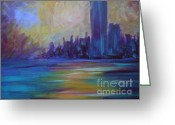 Sunset Sculpture Greeting Cards - Impressionism-city And Sea Greeting Card by Soho