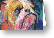Custom Pet Portraits From Photos Drawings Greeting Cards - Impressionistic Bulldog painting Greeting Card by Svetlana Novikova