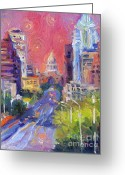 Giclee Prints Greeting Cards - Impressionistic Downtown Austin city painting Greeting Card by Svetlana Novikova
