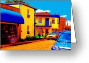 Flowers Miami Greeting Cards - Impressionistic Motel By The Beach Greeting Card by Annie Zeno