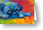 Dog Prints Drawings Greeting Cards - impressionistic Pug painting Greeting Card by Svetlana Novikova
