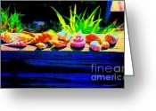 Sea Shell Art Greeting Cards - Impressionistic Sea Shells Greeting Card by Annie Zeno