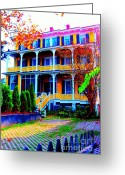 Surf Fishing Photo Greeting Cards - Impressionistic Victorian House In Cape May II Greeting Card by Annie Zeno