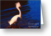 Migrating Bird Greeting Cards - Impressions of a Snowy Egret . Painterly Greeting Card by Wingsdomain Art and Photography