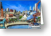 Wrigley Greeting Cards - Impressions of Chicago Greeting Card by Robert Reeves