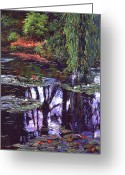 Water Gardens Greeting Cards - Impressions of Giverny Greeting Card by David Lloyd Glover
