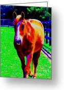 Arabian Photographs Greeting Cards - Impressiontistic Horse Greeting Card by Annie Zeno