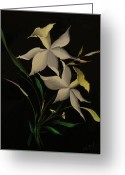 Scenery Glass Art Greeting Cards - Improvisation Narcis Greeting Card by Venyamin Astashov