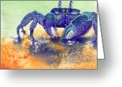 Crabs Greeting Cards - In a Blue Mood Greeting Card by Tracy L Teeter