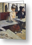 Depressed Greeting Cards - In a Cafe Greeting Card by Edgar Degas