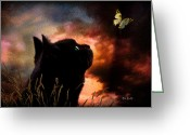 Black Cat Greeting Cards - In a cats eye all things belong to cats.  Greeting Card by Bob Orsillo