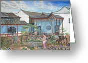 Woman In Pool Greeting Cards - In a Chinese Garden Greeting Card by Anthony Lyon