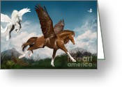 Gallop Greeting Cards - In a hurry Greeting Card by Kate Black