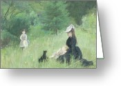 Parks Greeting Cards - In a Park Greeting Card by Berthe Morisot