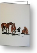 Quarter Horses Greeting Cards - In a Row Greeting Card by Bj Redmond