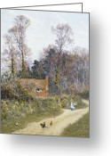 Gossiping Greeting Cards - In a Witley Lane Greeting Card by Helen Allingham