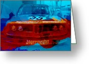 Red Car Greeting Cards - In Between The Races Greeting Card by Irina  March