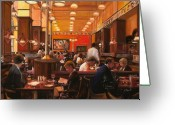 Brasserie Greeting Cards - In Birreria Greeting Card by Guido Borelli