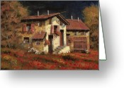 Poppy Greeting Cards - In Campagna La Sera Greeting Card by Guido Borelli