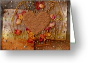 Heart Collage Greeting Cards - In Cookie And Bread Style Greeting Card by Pepita Selles