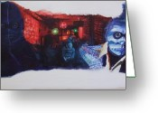 Noir Lounge Painting Greeting Cards - In der Disko Tanzen Greeting Card by LB Zaftig