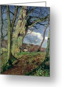 Trees Oil Greeting Cards - In Early Spring Greeting Card by John William Inchbold