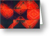 Wall Art Tapestries - Textiles Greeting Cards - In Flux Greeting Card by Mildred Thibodeaux