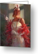 Cigarette Holder Greeting Cards - In Full Plumage Greeting Card by Cheryl King
