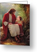 Jesus Art Painting Greeting Cards - In His Light Greeting Card by Greg Olsen