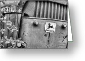 Fauquier County Greeting Cards - In John Deere Greene BW Greeting Card by JC Findley