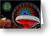 Fairgrounds Greeting Cards - In Motion Greeting Card by Susan Candelario