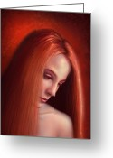 Beautiful Woman Greeting Cards - In Mourning Greeting Card by Philip Straub