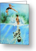 Sports Artist Greeting Cards - In Sync Greeting Card by Hanne Lore Koehler